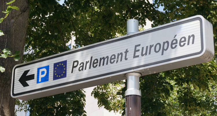 A sign near the European Parliament in Strasbourg. Image: Clark Gascoigne / GFI